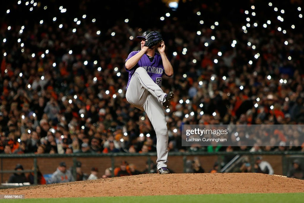 Jake McGee #51 of the Colorado Rockies pitches in the seventh inning against the San Francisco Giants at AT&T Park on April 14, 2017 in San Francisco, California.