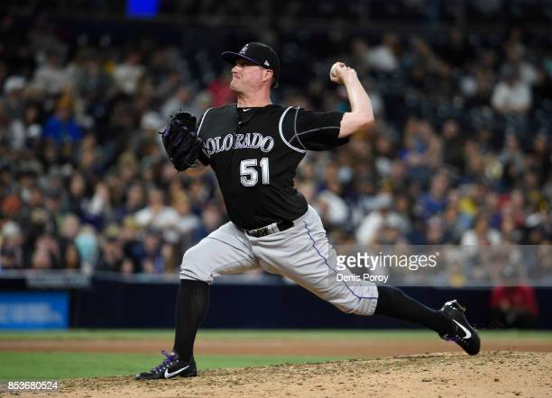 Jake McGee of the Colorado Rockies plays during a baseball game against the San Diego Padres at PETCO Park on September 23 2017 in San Diego...