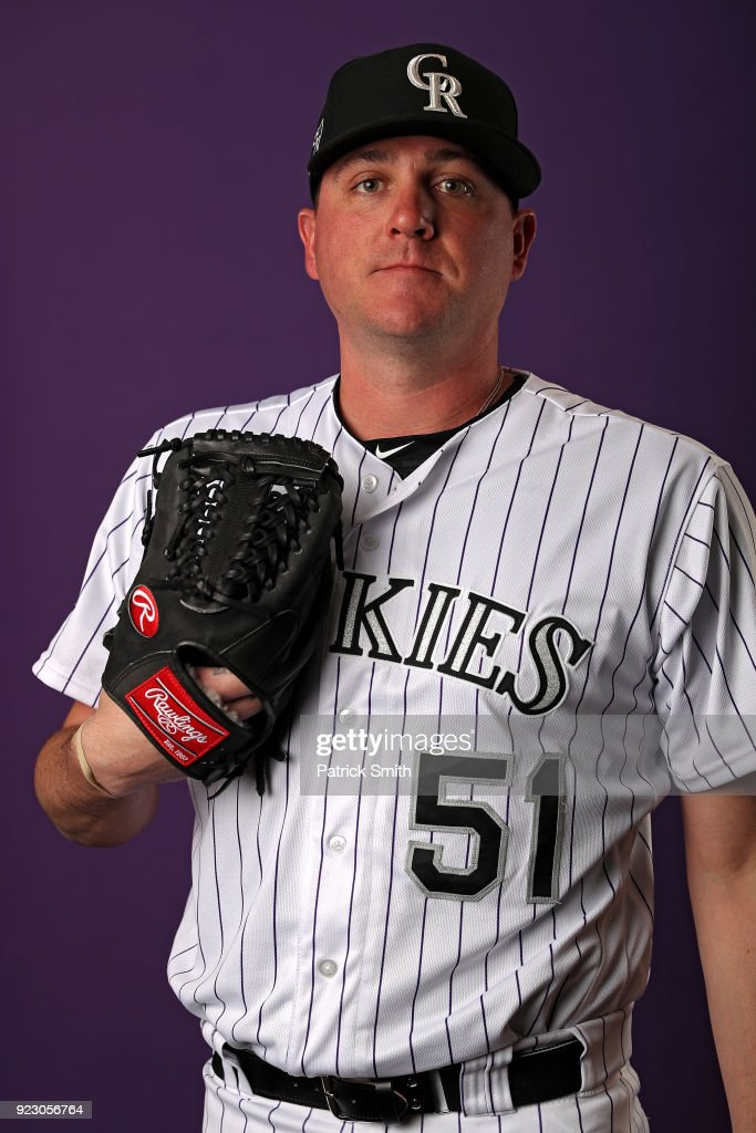 Jake McGee #51 of the Colorado Rockies poses on photo day during MLB Spring Training at Salt River Fields at Talking Stick on February 22, 2018 in Scottsdale, Arizona.
