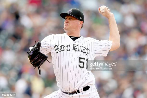 Jake McGee of the Colorado Rockies throws in the eighth inning against the Cleveland Indians at Coors Field on June 7 2017 in Denver Colorado