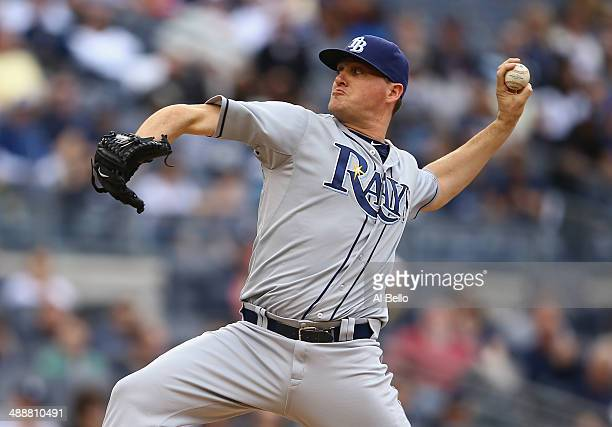 Jake McGee of the Tampa Bay Rays in action against the New York Yankees during their game at Yankee Stadium on May 4 2014 in the Bronx borough of New...