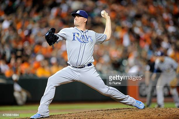 Jake McGee of the Tampa Bay Rays pitches against the Baltimore Orioles at Oriole Park at Camden Yards on May 29 2015 in Baltimore Maryland