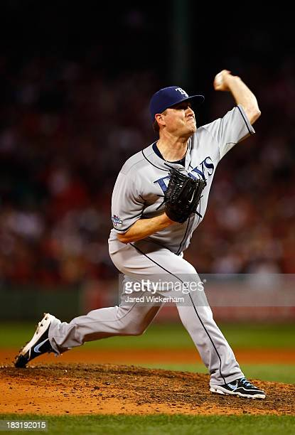 Jake McGee of the Tampa Bay Rays pitches against the Boston Red Sox during Game Two of the American League Division Series at Fenway Park on October...