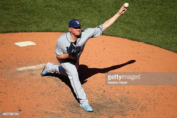 Jake McGee of the Tampa Bay Rays pitches against the Boston Red Sox during the eighth inning at Fenway Park on August 2 2015 in Boston Massachusetts
