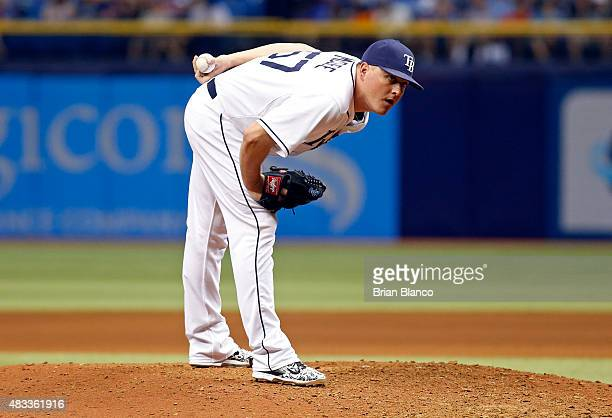 Jake McGee of the Tampa Bay Rays pitches during the eighth inning of a game New York Mets on August 7 2015 at Tropicana Field in St Petersburg Florida