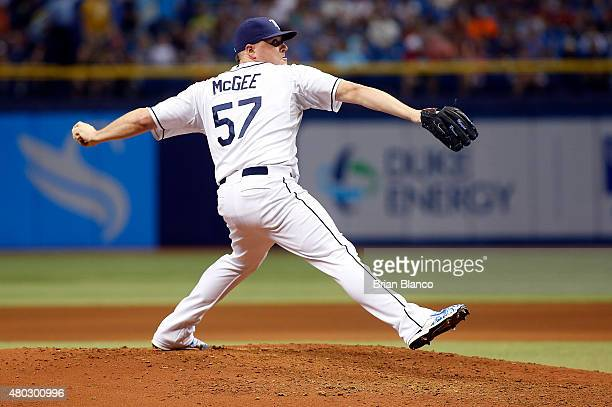 Jake McGee of the Tampa Bay Rays pitches during the top of the seventh inning of a game against the Houston Astros on July 10 2015 at Tropicana Field...