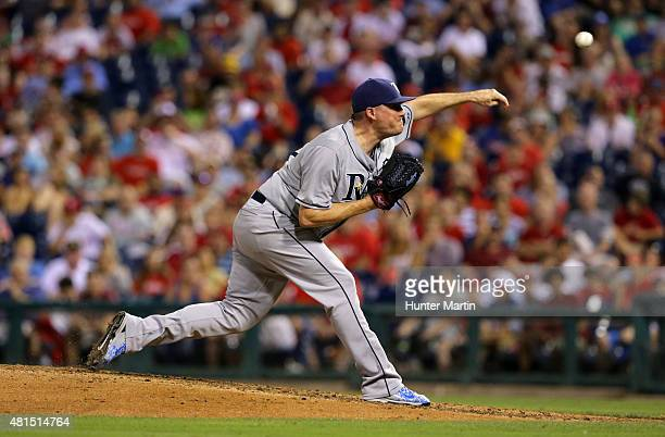 Jake McGee of the Tampa Bay Rays throws a pitch in the seventh inning during a game against the Philadelphia Phillies at Citizens Bank Park on July...