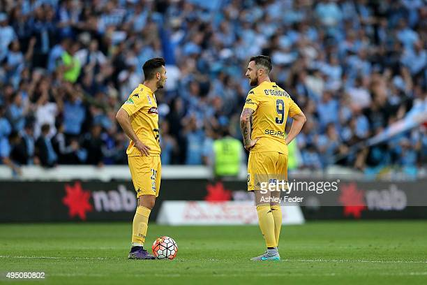 Jake McGing and Roy O'Donovan of the Mariners converse during the round four ALeague match between the Central Coast Mariners and Sydney FC at...
