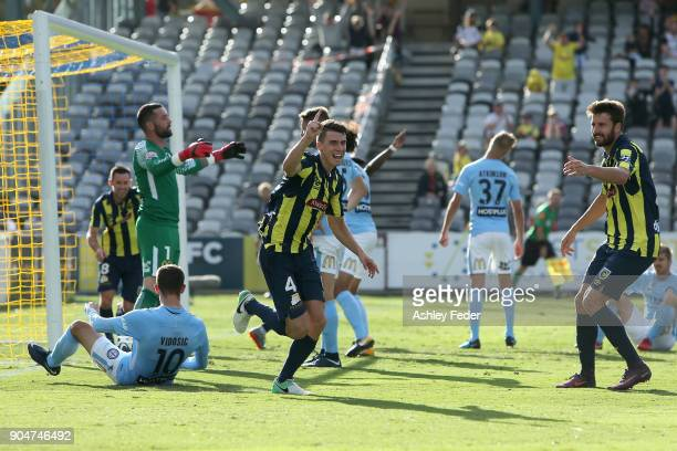 Jake McGing of the Mariners celebrates a goal during the round 16 ALeague match between the Central Coast Mariners and Melbourne City at Central...