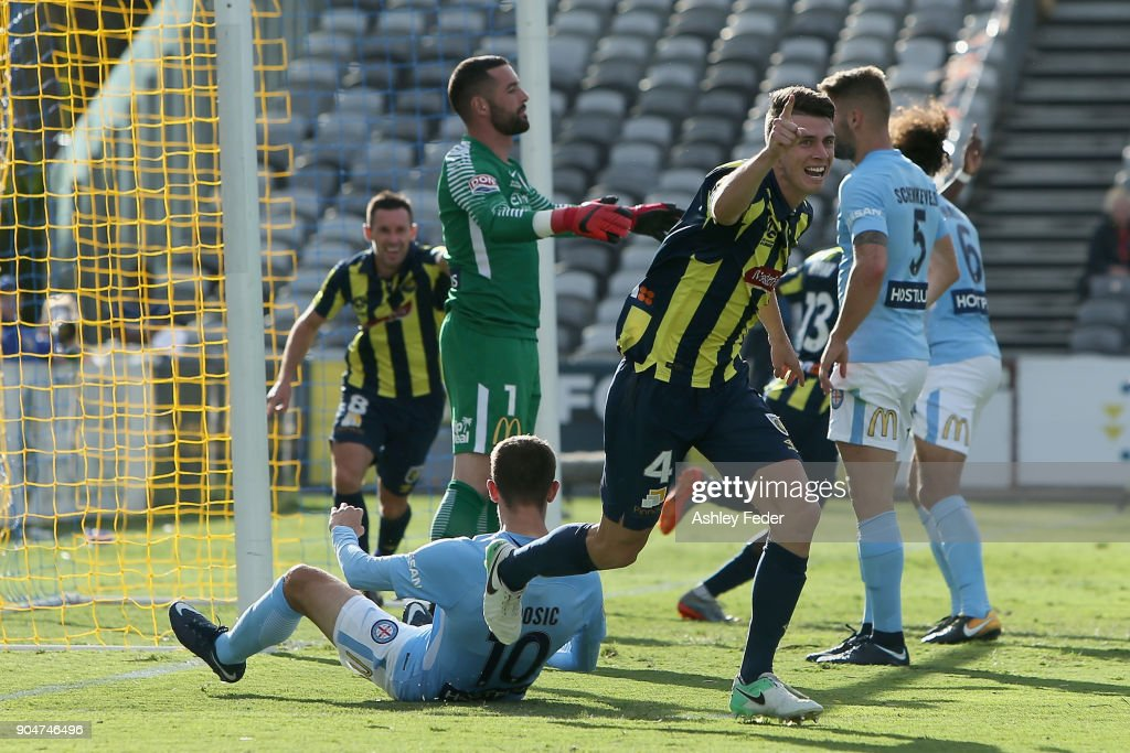 Jake McGing of the Mariners celebrates a goal during the round 16 A-League match between the Central Coast Mariners and Melbourne City at Central Coast Stadium on January 14, 2018 in Gosford, Australia.