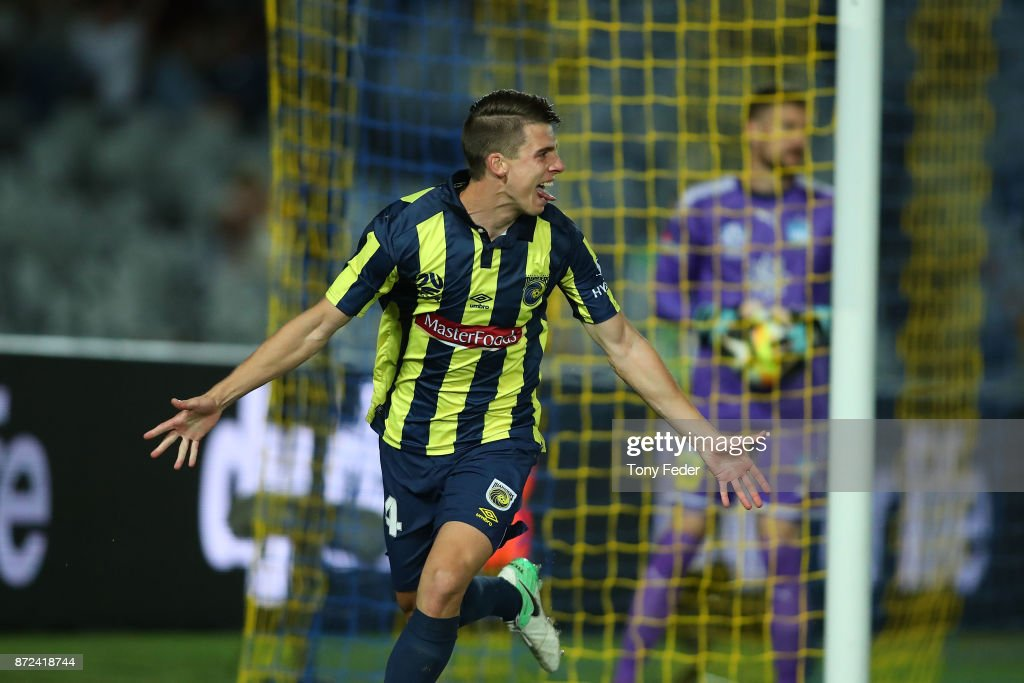 Jake McGing of the Mariners celebrates scoring a goal during the round six A-League match between the Central Coast Mariners and Sydney FC at Central Coast Stadium on November 10, 2017 in Gosford, Australia.