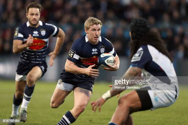 Jake McIntyre of Agen during the French Top 14 match between SA Agen and Montpellier on March 3 2018 in Agen France