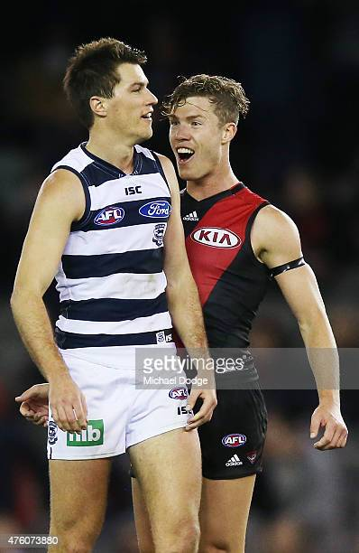 Jake Melksham of the Bombers reacts at Andrew Mackie of the Cats after giving away a 50 metre penalty during the round 10 AFL match between the...