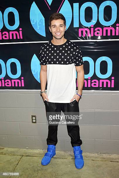 Jake Miller poses at Y100's Jingle Ball Village Y100's Jingle Ball 2014 official preshow at BBT Center on December 21 2014 in Miami FL