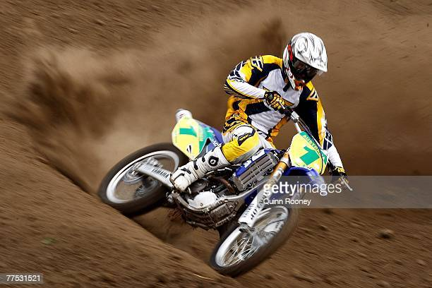 Jake Moss rides in the Pro Lite qualifying during day one of the 2007 Oceania Motocross Championships held at the Barrabool track October 27 2007 in...