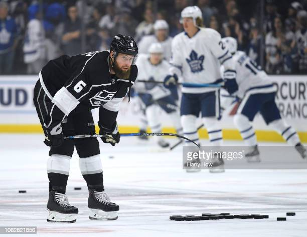 Jake Muzzin of the Los Angeles Kings during warm up before the game against the Toronto Maple Leafs at Staples Center on November 13 2018 in Los...