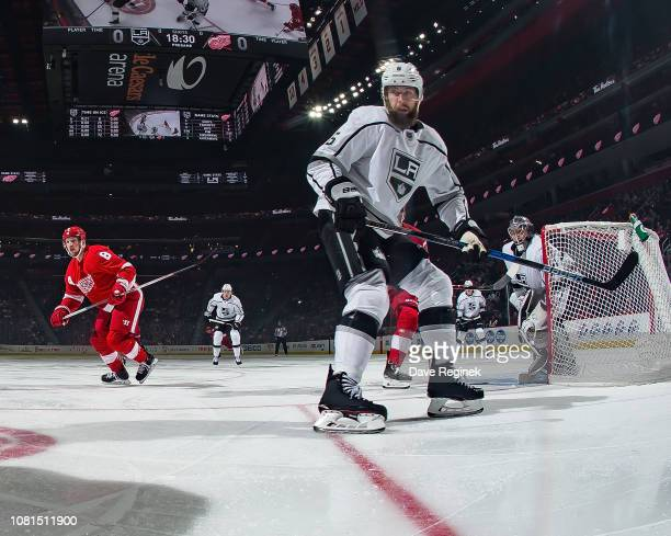 Jake Muzzin of the Los Angeles Kings follows the play against the Detroit Red Wings during an NHL game at Little Caesars Arena on December 10 2018 in...