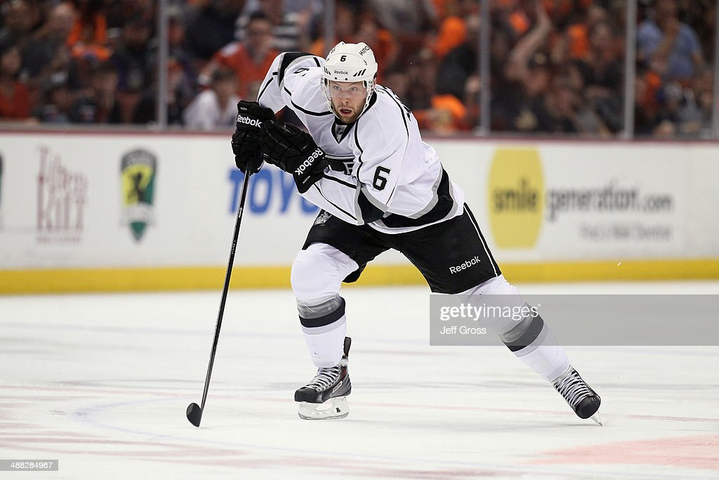 Jake Muzzin #6 of the Los Angeles Kings skates against the Anaheim Ducks in Game One of the Second Round of the 2014 NHL Stanley Cup Playoffs at Honda Center on May 3, 2014 in Anaheim, California.