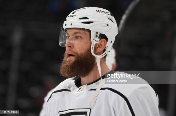Jake Muzzin of the Los Angeles Kings skates nprior to the game against the Colorado Avalanche at the Pepsi Center on March 22 2018 in Denver Colorado...