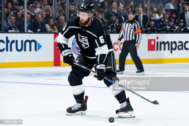 Jake Muzzin of the Los Angeles Kings takes a slapshot during the first period of the game against the Ottawa Senators at STAPLES Center on January 10...