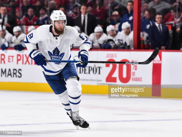 Jake Muzzin of the Toronto Maple Leafs skates against the Montreal Canadiens during the NHL game at the Bell Centre on February 9 2019 in Montreal...