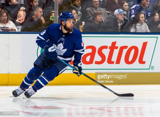 Jake Muzzin of the Toronto Maple Leafs skates against the Pittsburgh Penguins during the first period at the Scotiabank Arena on February 2 2019 in...
