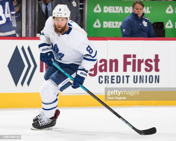Jake Muzzin of the Toronto Maple Leafs skates during warmups prior to an NHL game against the Detroit Red Wings at Little Caesars Arena on February 1...