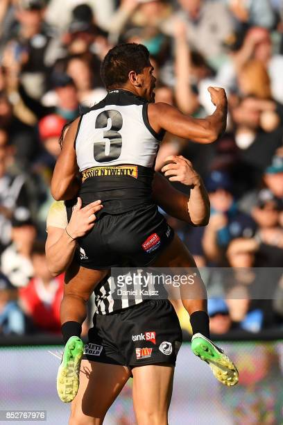 Jake Neade of the Magpies celebrates after kicking a goal during the SANFL Grand Final match between Port Adelaide and Sturt at AAMI Stadium on...