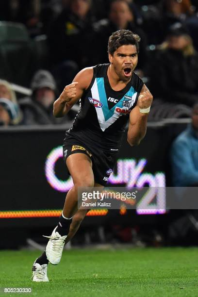 Jake Neade of the Power celebrates after kicking a goal during the round 15 AFL match between the Port Adelaide Power and the Richmond Tigers at...