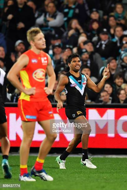 Jake Neade of the Power celebrates after kicking a goal during the round 23 AFL match between the Port Adelaide Power and the Gold Coast Suns at...