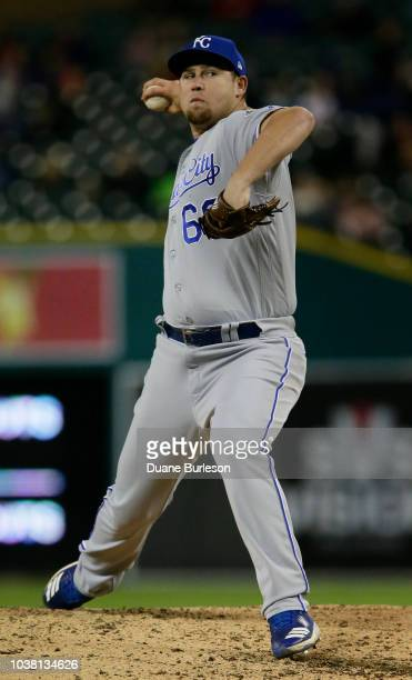 Jake Newberry of the Kansas City Royals pitches against the Detroit Tigers during the seventh inning at Comerica Park on September 22 2018 in Detroit...