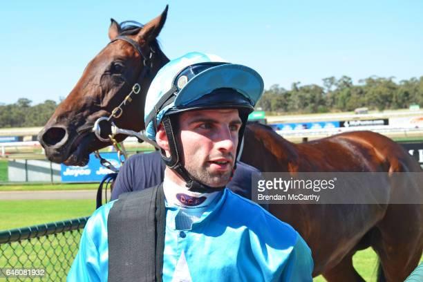 Jake Noonan after winning Flexepin FM BM64 Handicap at Bendigo Racecourse on February 28 2017 in Bendigo Australia