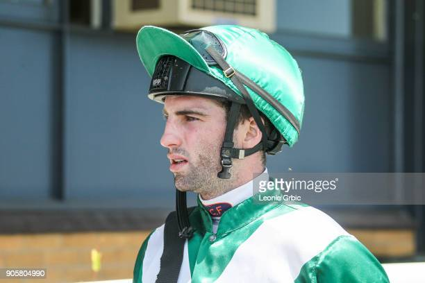 Jake Noonan after winning the Helloworld Maiden Plate at Moe Racecourse on January 17 2018 in Moe Australia