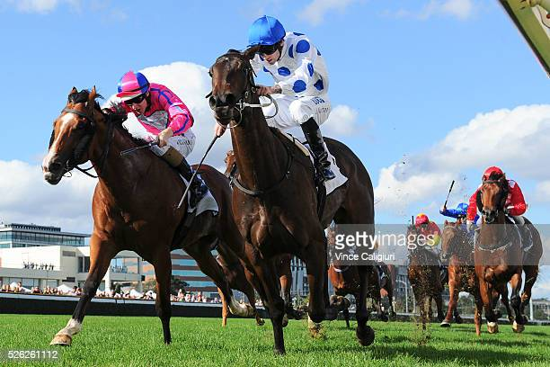 Jake Noonan riding Oregon's Day defeats Damian Lane riding Highland Beat in Race 5 the Thoroughbred Clup Cup during Melbourne Racing at Caulfield...
