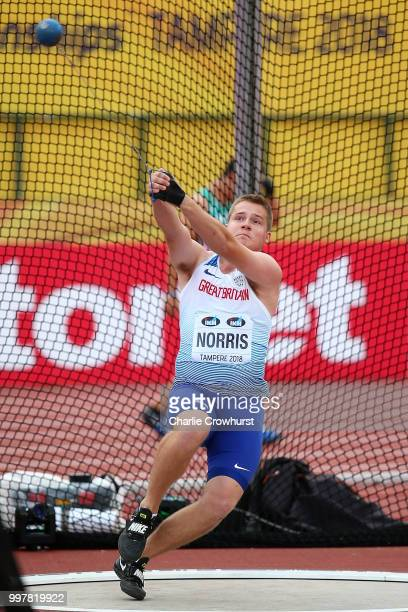 Jake Norris of Great Britain in action during the final of the men's hammer throw on day four of The IAAF World U20 Championships on July 13 2018 in...