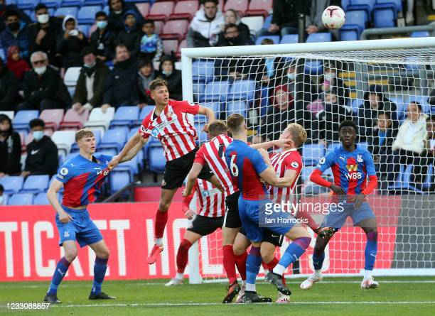 Jake O'Brien of Palace attacks a corner during the Premier League 2 play off game between Crystal Palace U23 and Sunderland U23 at Selhurst Park on...