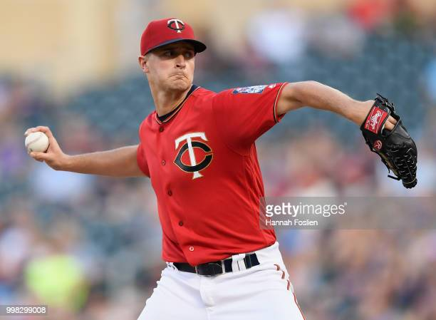 Jake Odorizzi of the Minnesota Twins delivers a pitch against the Tampa Bay Rays during the second inning of the game on July 13 2018 at Target Field...