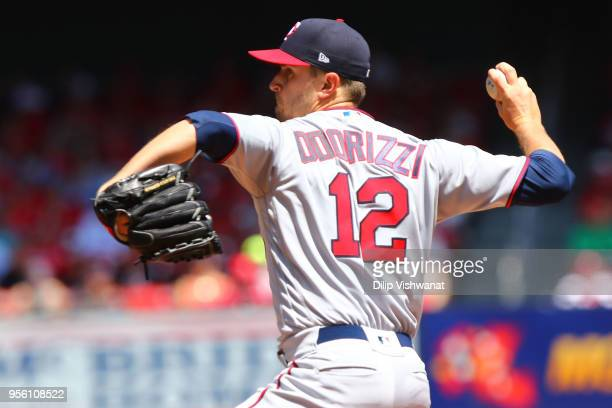 Jake Odorizzi of the Minnesota Twins delivers a pitch against the St Louis Cardinals in the first inning at Busch Stadium on May 8 2018 in St Louis...