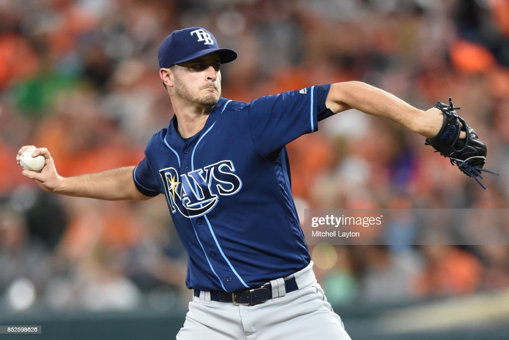 Jake Odorizzi #23 of the Tampa Bay Rays pitches in the first inning during a baseball game against the Baltimore Orioles at Oriole Park at Camden Yards on September 23, 2017 in Baltimore, Maryland.