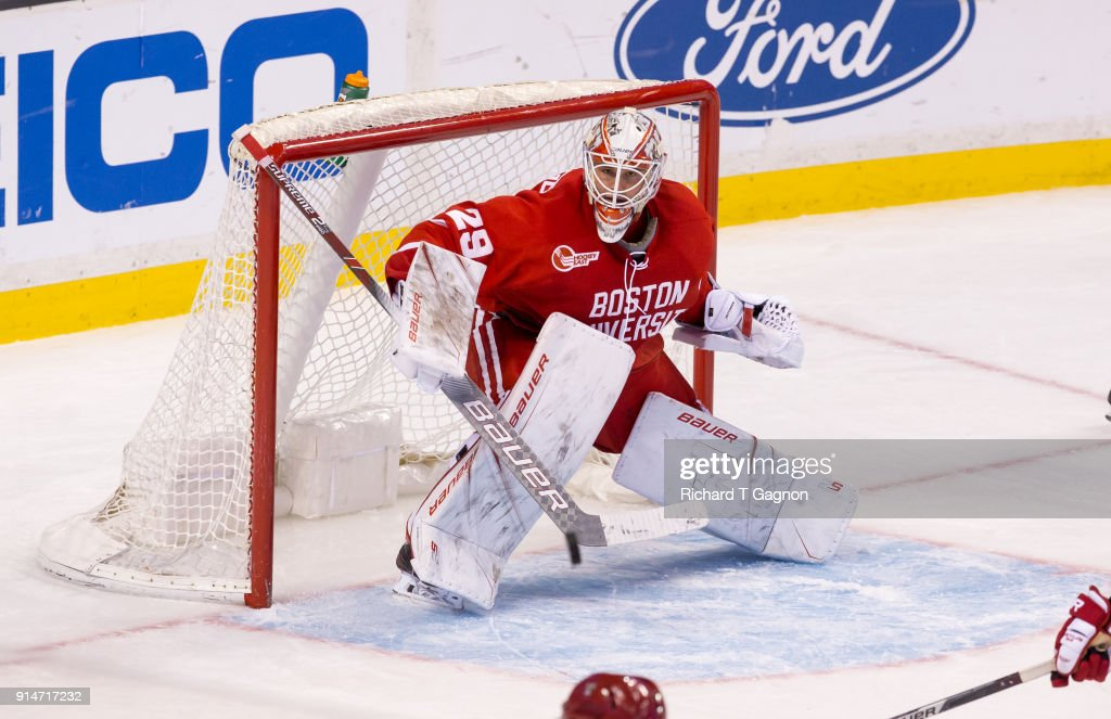 Jake Oettinger #29 of the Boston University Terriers tends goal against the Harvard Crimson during NCAA hockey in the semifinals of the annual Beanpot Hockey Tournament at TD Garden on February 5, 2018 in Boston, Massachusetts. The Terriers won 3-2 in double overtime.