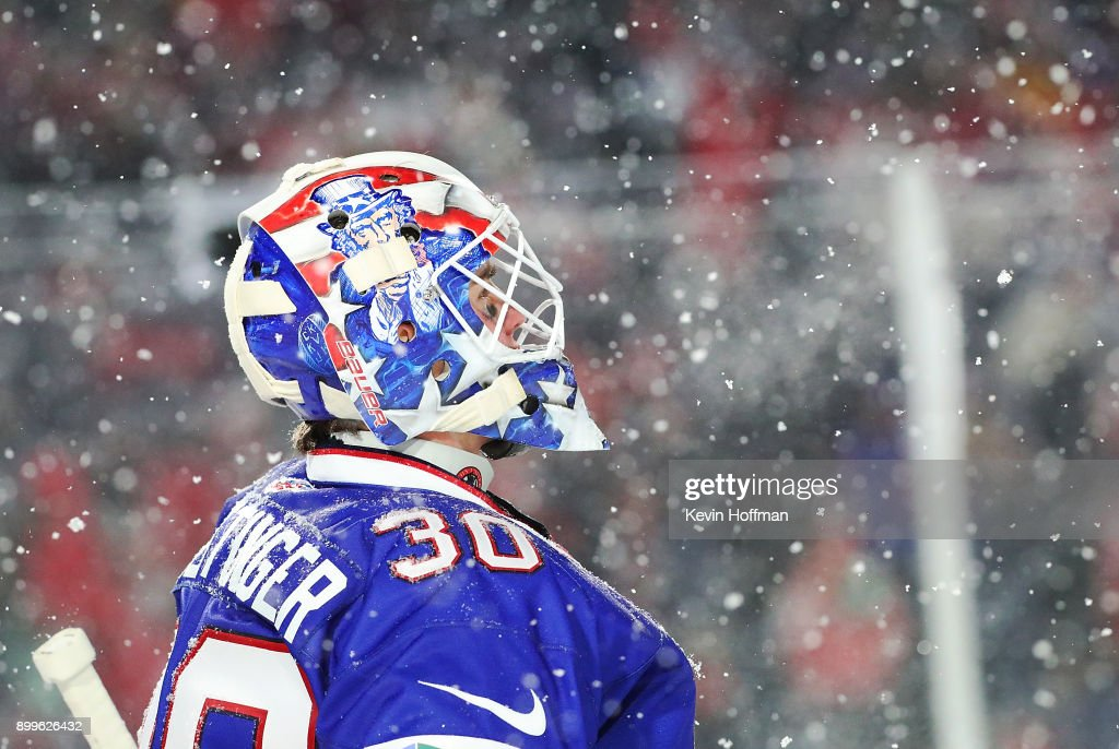 Jake Oettinger #30 of United States during the IIHF World Junior Championship against Canada at New Era Field on December 29, 2017 in Buffalo, New York. The United States beat Canada 4-3.