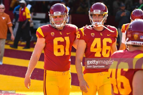 Jake Olson and USC Wyatt Schmidt look on before a college football game between the Texas Longhorns and the USC Trojans on September 16 at Los...