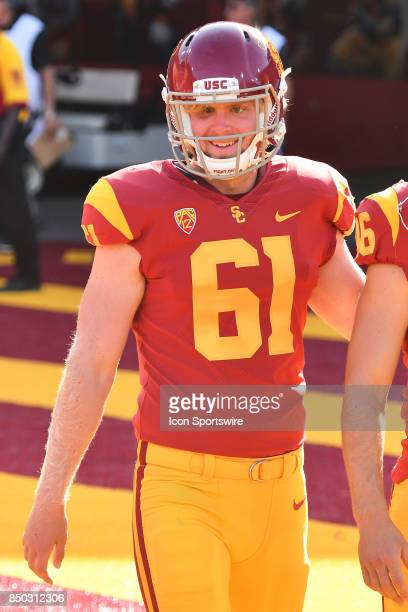 Jake Olson looks on before a college football game between the Texas Longhorns and the USC Trojans on September 16 at Los Angeles Memorial Coliseum...