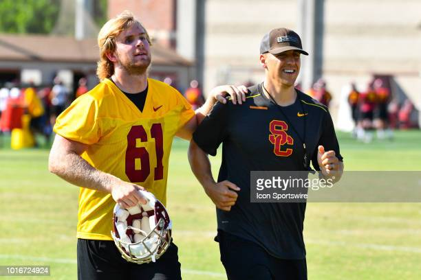 Jake Olson runs to a drill during USC Trojans football practice at Brian Kennedy/ Howard Jones Field on August 13 2018 in Los Angeles CA