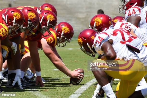 Jake Olson snaps the ball during the USC spring football game on April 15 at the Los Angeles Memorial Coliseum in Los Angeles CA