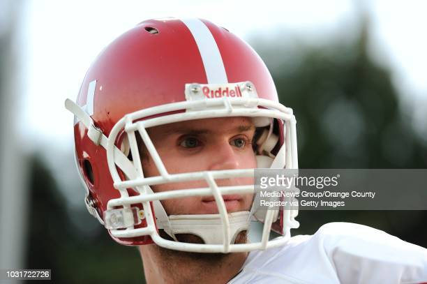 Jake Olson the long snapper for Orange Lutheran High during a game against St John Bosco in Bellflower Olson is blind yet he plays football golf and...