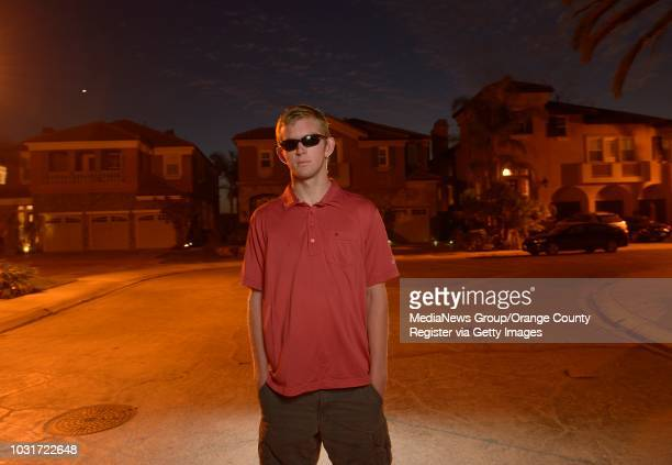 Jake Olson the long snapper for Orange Lutheran High in his Huntington Beach neighborhood on Tuesday Olson is blind yet he plays football golf and is...
