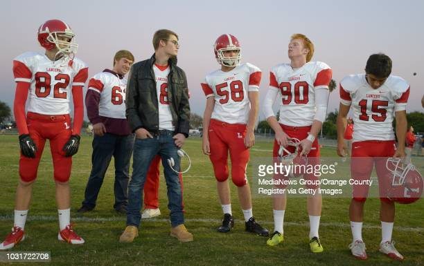 Jake Olson the long snapper for Orange Lutheran High with his team before a game against St John Bosco in Bellflower Olson is blind yet he plays...