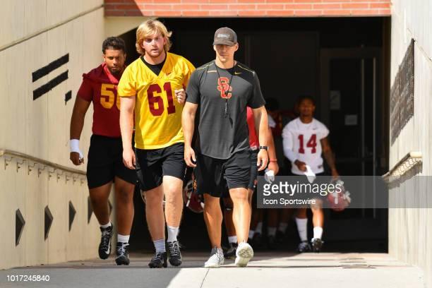 Jake Olson walks down the tunnel before USC Trojans football practice at Brian Kennedy/ Howard Jones Field on August 13 2018 in Los Angeles CA