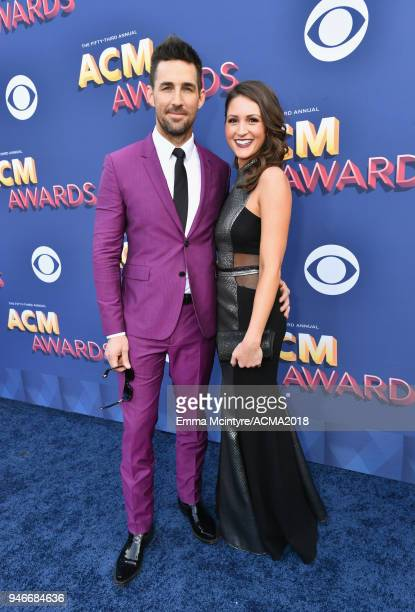 Jake Owen and Erica Hartlein attend the 53rd Academy of Country Music Awards at MGM Grand Garden Arena on April 15 2018 in Las Vegas Nevada